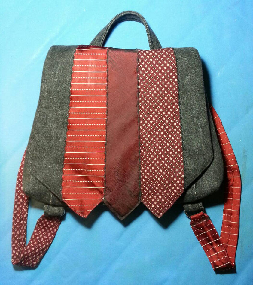 Denim and Necktie Backpack by Wabbit-t3h