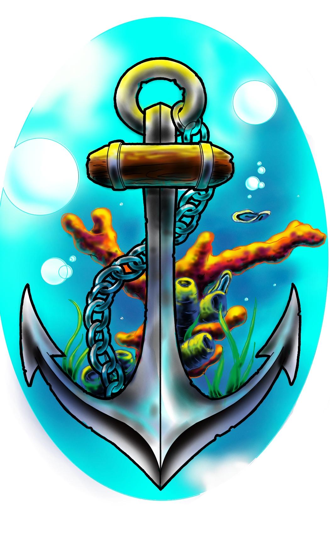 New school tattoo design - New School Underwater Anchor By Atdoodle New School Underwater Anchor By Atdoodle