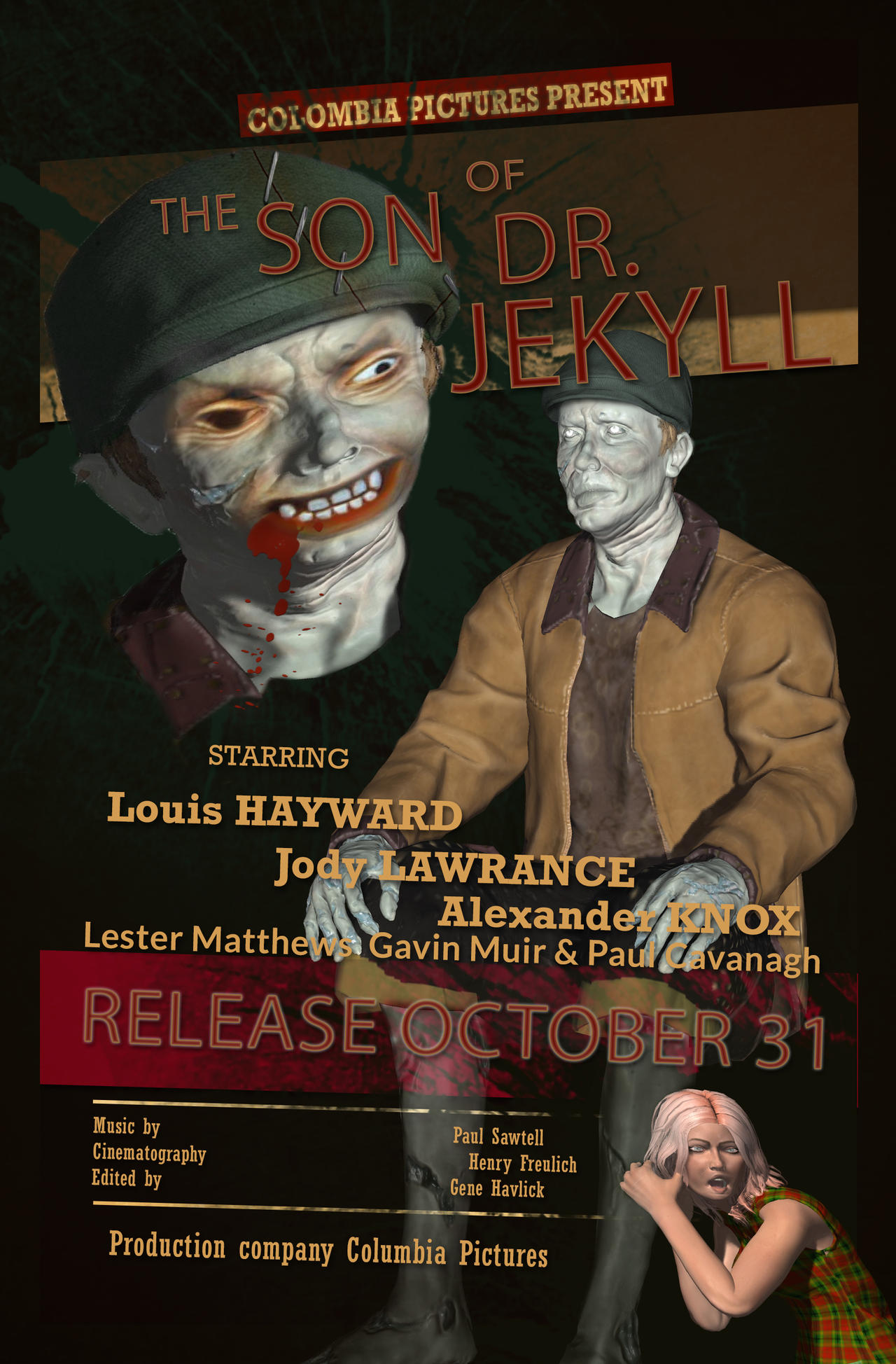 The son of Dr. Jekyll movie poster fifties style by SlichoArt