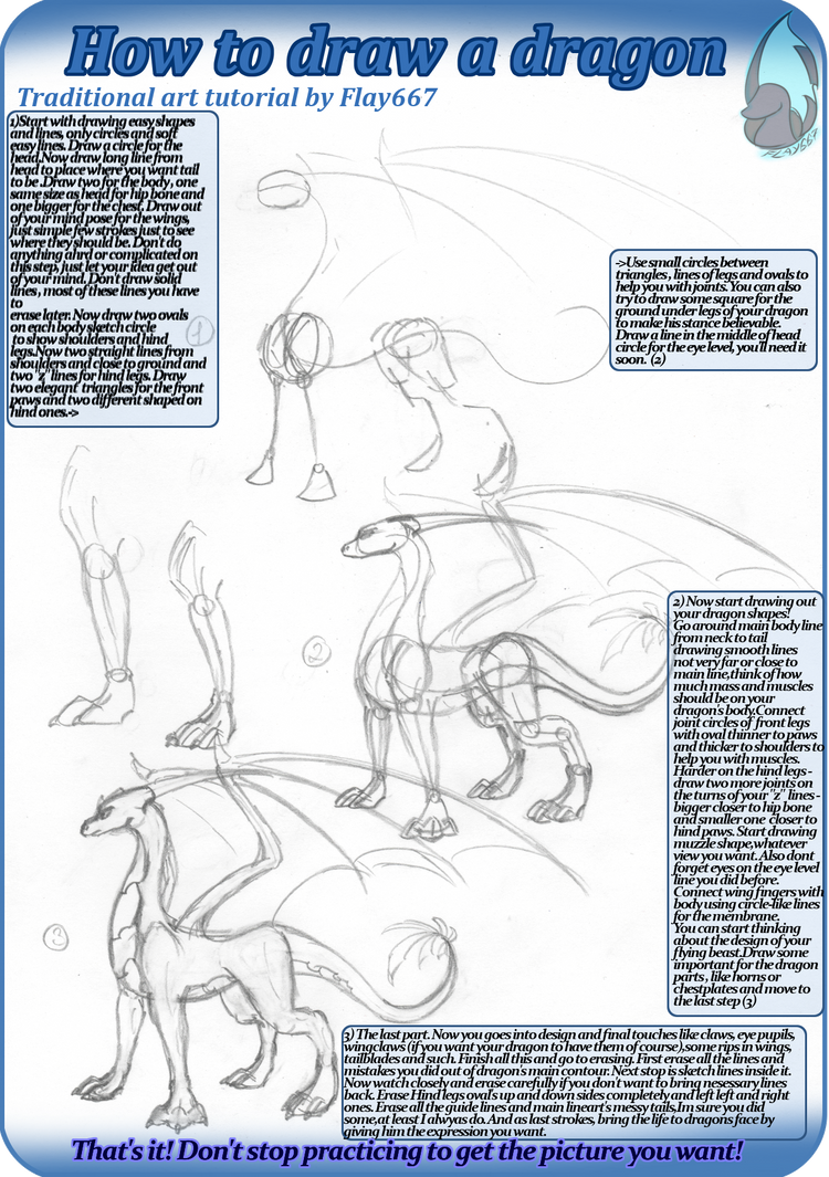 Traditional tutorial: How to draw standing dragon by ...