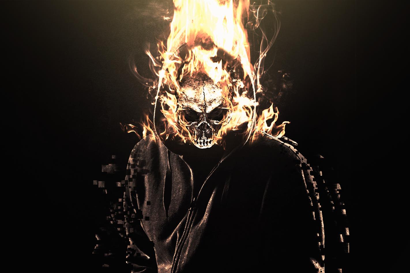 Flaming Skull Manipulation Wallpaper by RCDezine on DeviantArt