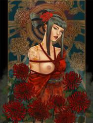 Geisha in red by Little-Ginkgo