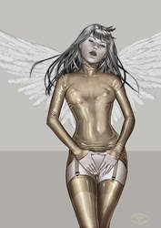 Gold latex girl by Little-Ginkgo