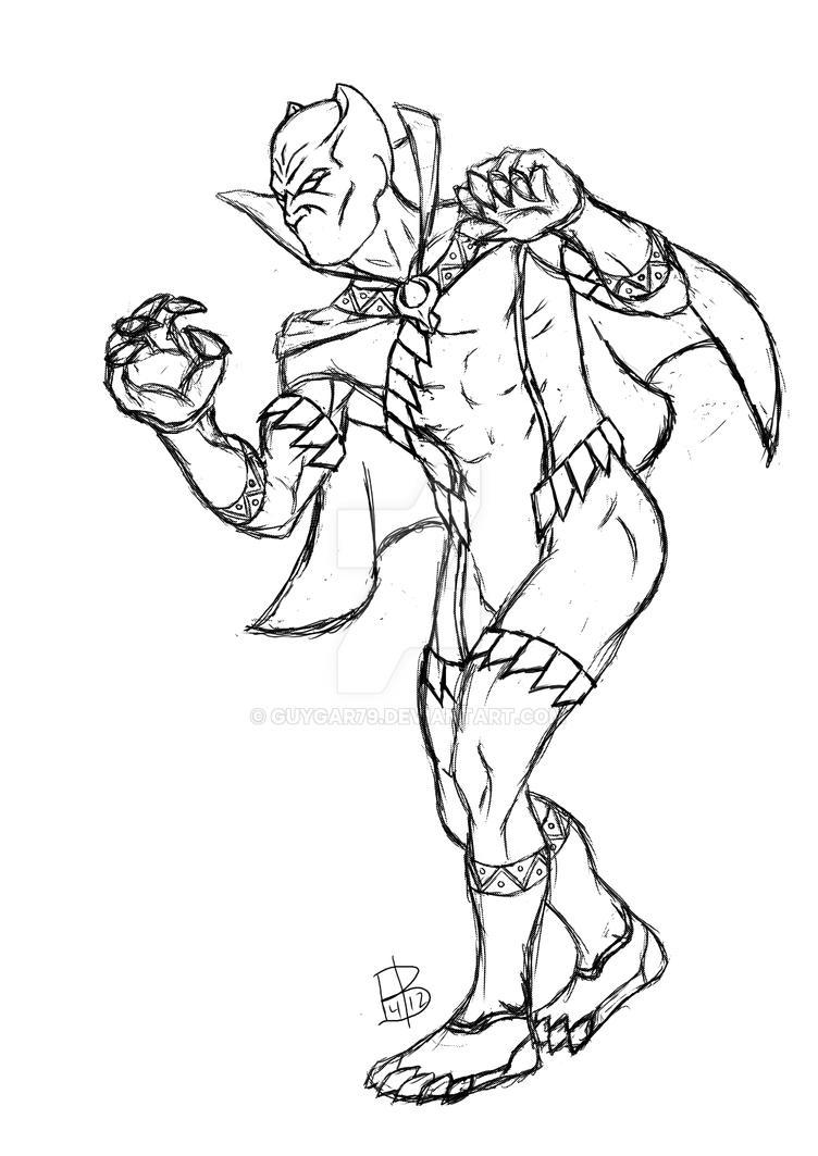 Black panther redesign sketch by guygar79 on deviantart for Black jaguar coloring page