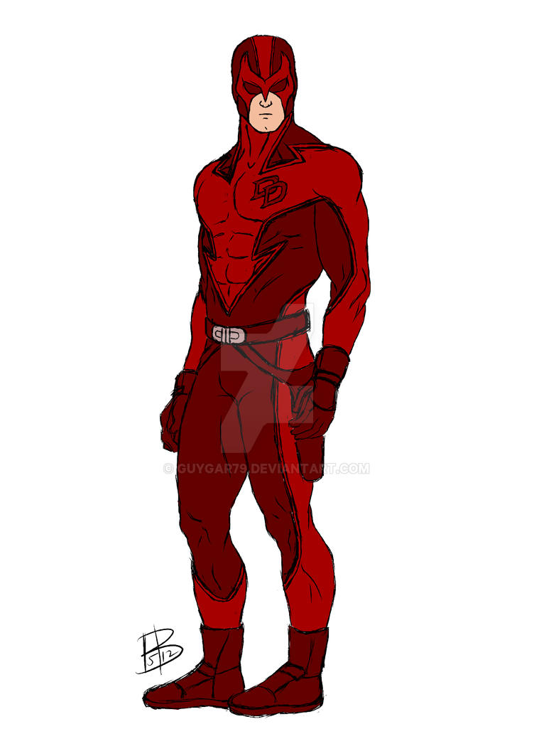 Daredevil redesign sketch and color by guygar79