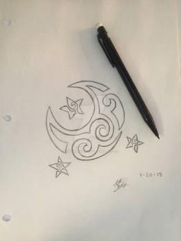 Tattoo Design: Moon and Stars