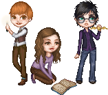 Harry, Ron and Hermione by Qweia