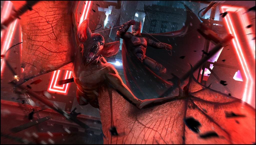 Batman vs. Man-Bat by Happy-Mutt