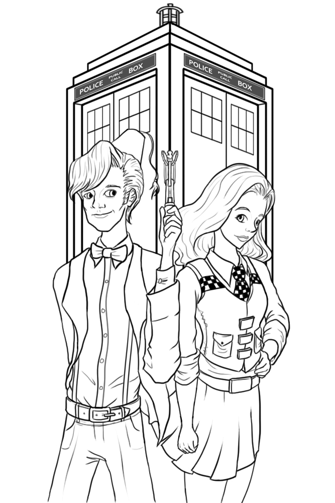 Line Drawing Of A Doctor : The doctor and amy lineart by redfred on deviantart