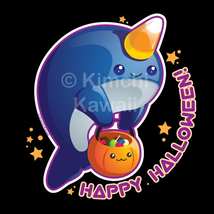 Kawaii Halloween Narwhal by kimchikawaii