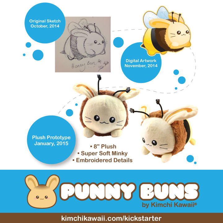 Honey Bun Cute Plush by kimchikawaii