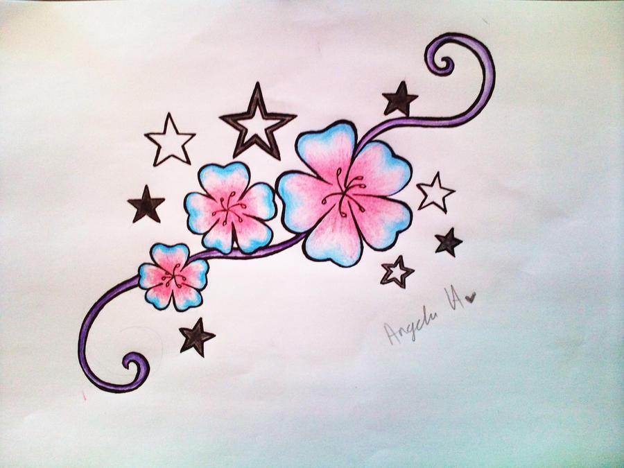 flower and stars tattoo design by rawrnessxx on deviantart. Black Bedroom Furniture Sets. Home Design Ideas