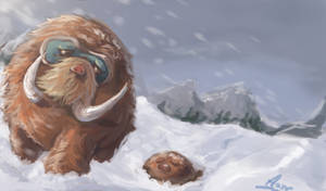 Mamoswine with her young by Anneuh