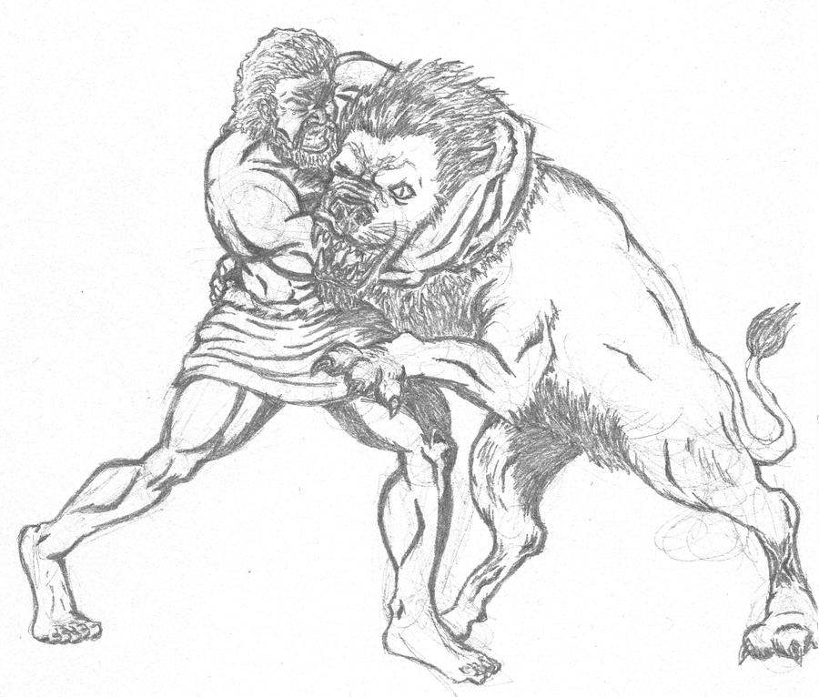 Hercules vs the Nemedian Lion by AnTTy3 on DeviantArt