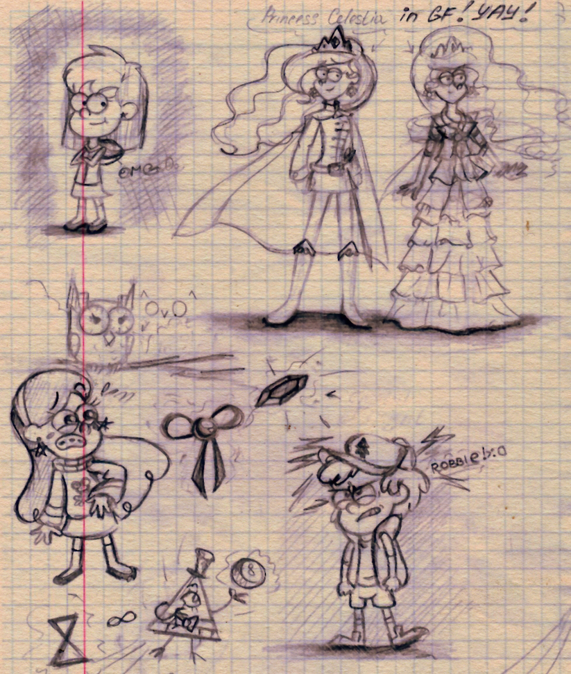Gravity Falls sketches. by CherryVioletS