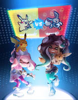 Splatfest: Pikachu vs. Eevee by nikogeyer