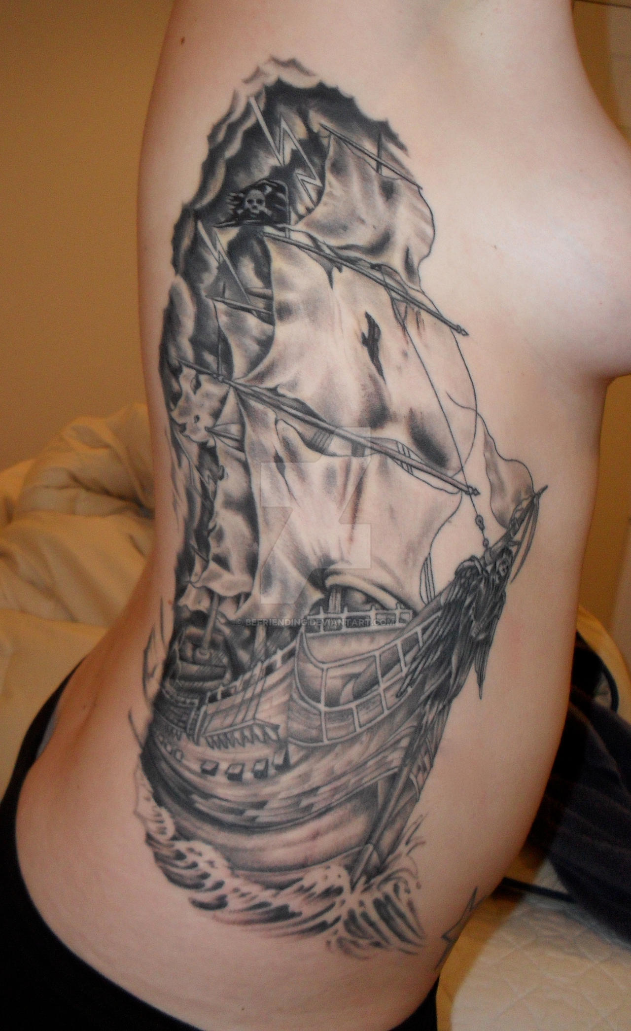 pirate ship tattoo by befriending