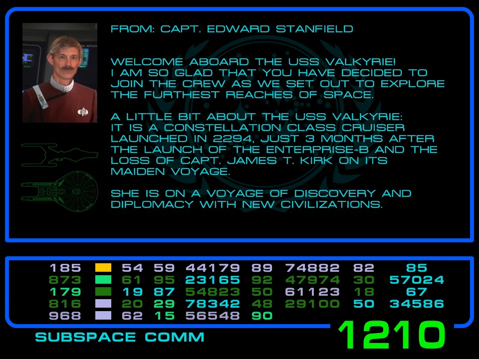 Letter from Captain Stanfield of the USS Valkyrie by VSFX