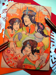 Elrond and his children by Arboriss