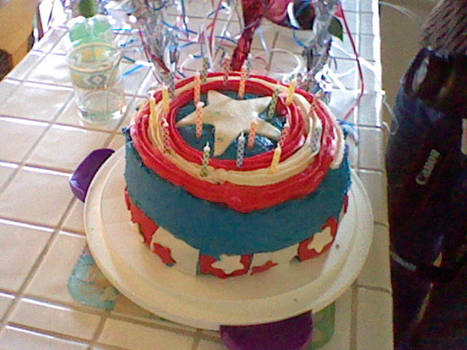 Captain America Cake (With Candles)
