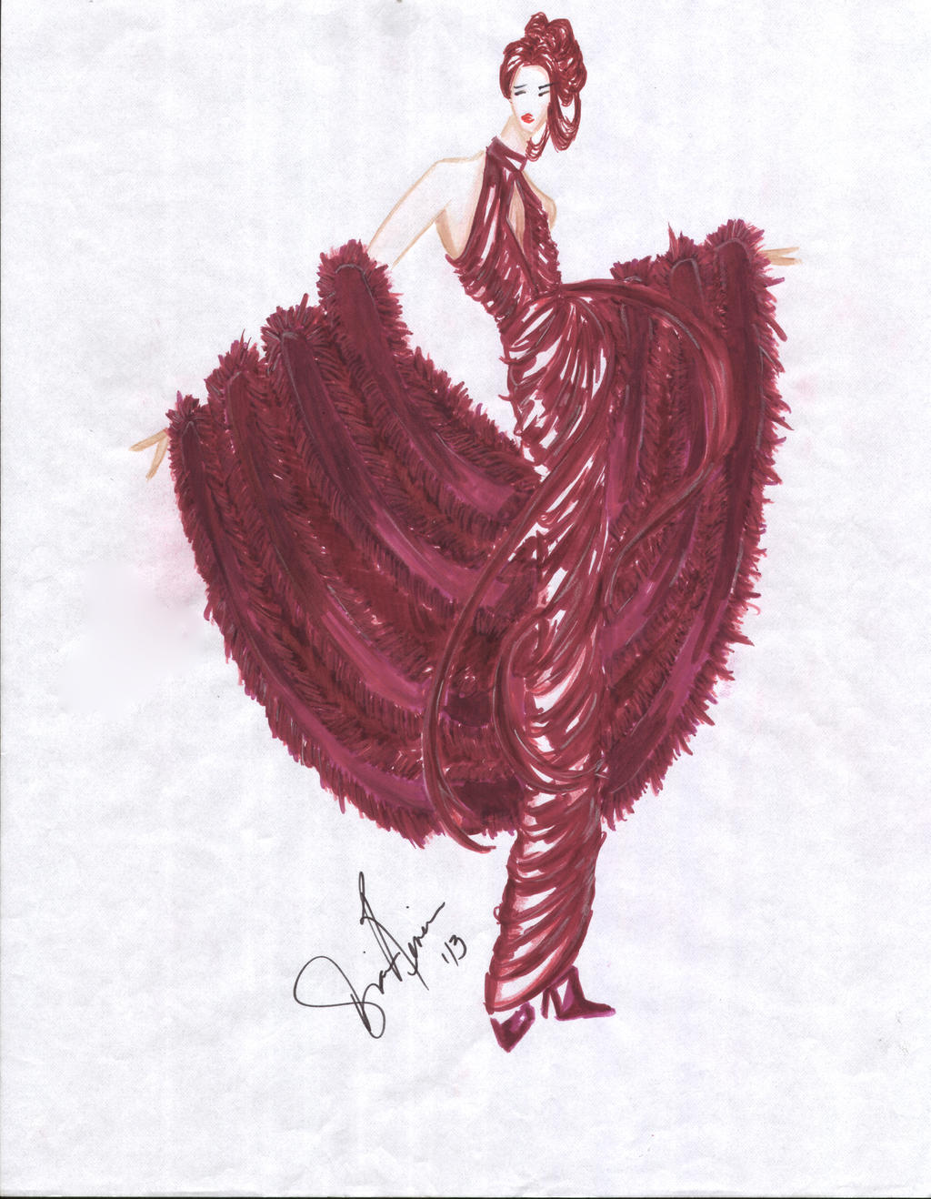 Grecian Drape Dress with Fur Stole by shadowsphere21