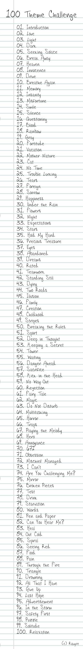 100 Theme Challenge List by Ravyre