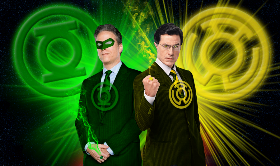 Jon Stewart + Sinestro Colbert by spiketherogue