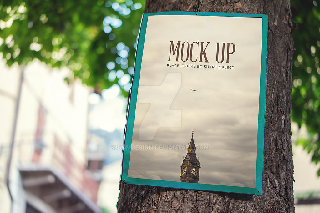 Realistic Poster Mock Up by DOMDESIGN