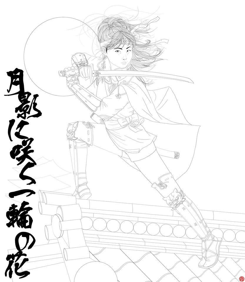 Anime Ninja Girl Coloring Pages