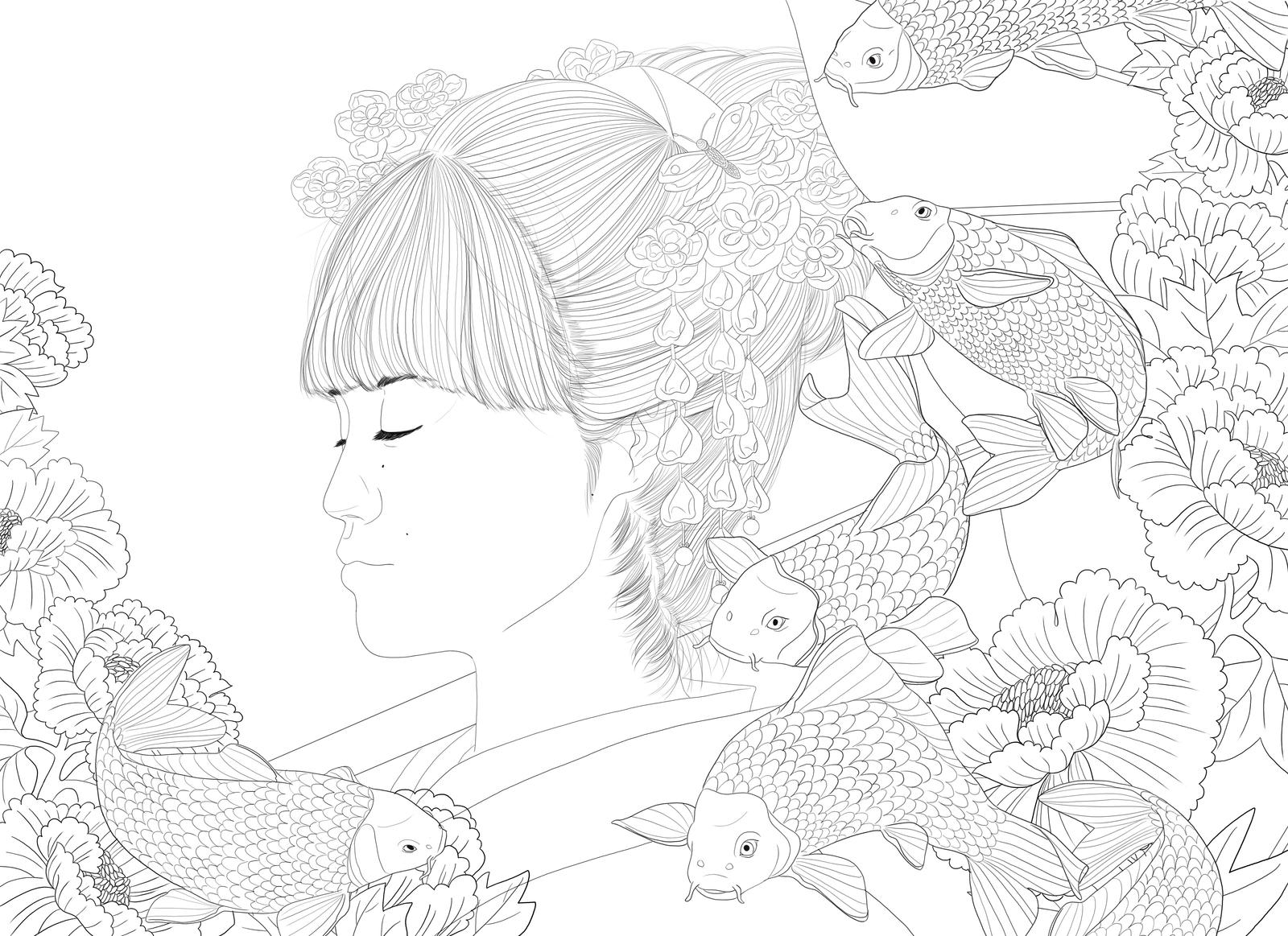 Japanese Flower Line Drawing : Yukina japanese style koi fish flowers lineart by rijio on