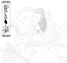 victorian marionette lolita puppet doll lineart by Rijio