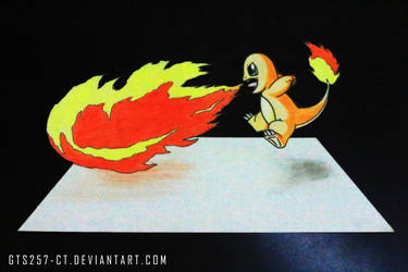 Charmander Flamethrower 3D Drawing