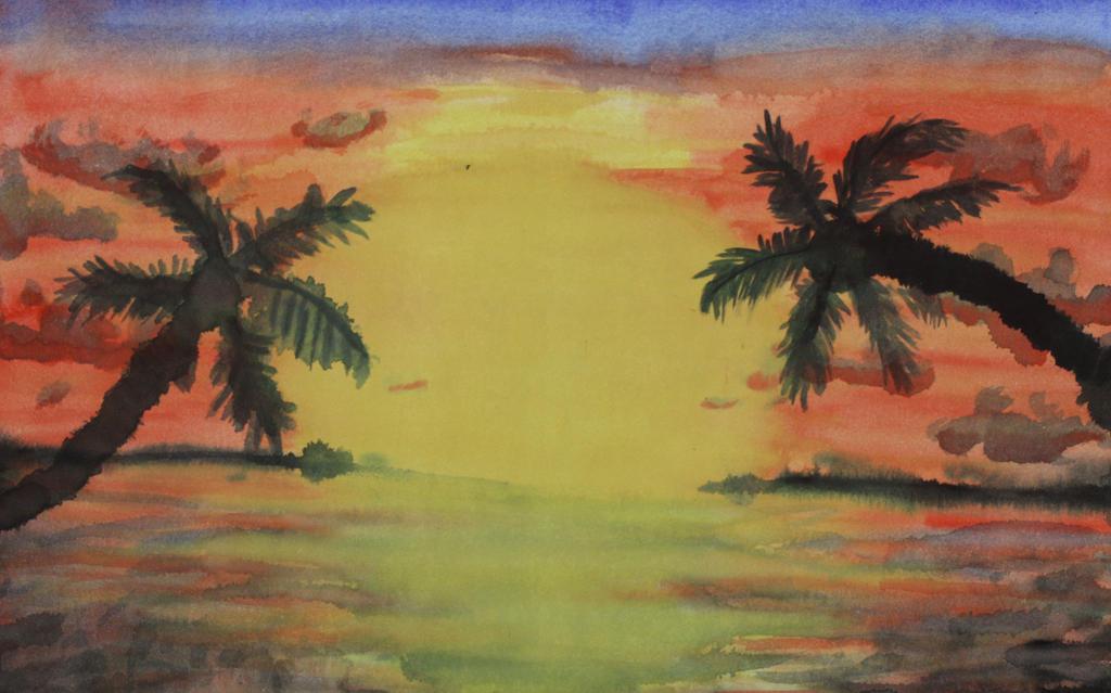 Hawaiian sunset by paintedclaw7