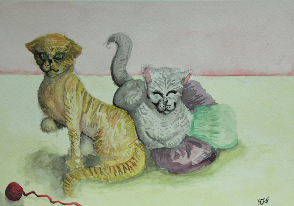 watercolor Kittens by paintedclaw7