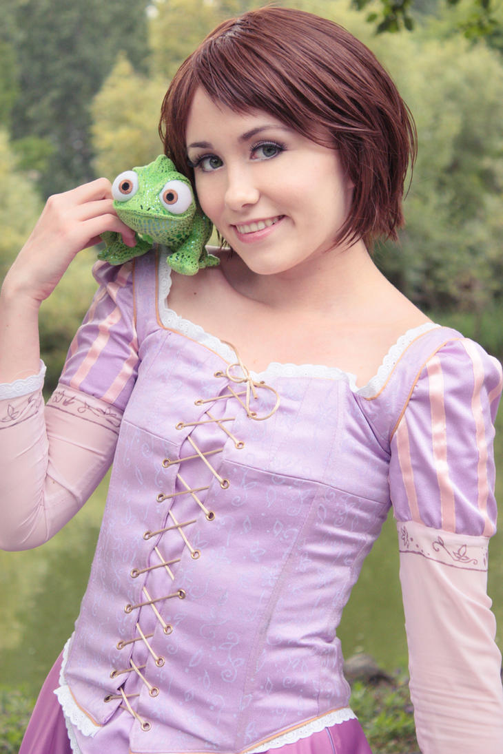 Rapunzel and Pascal by NunnallyLol