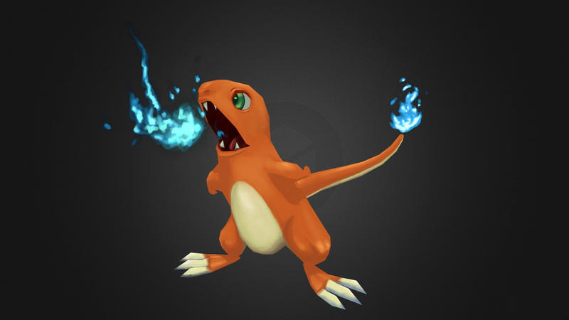 Hand Painted Lowpoly Charmander Built To Pose by Valtyr