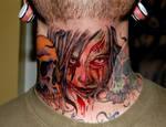 Zombie throat tattoo