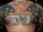 Zombie Apocolypse chest tattoo