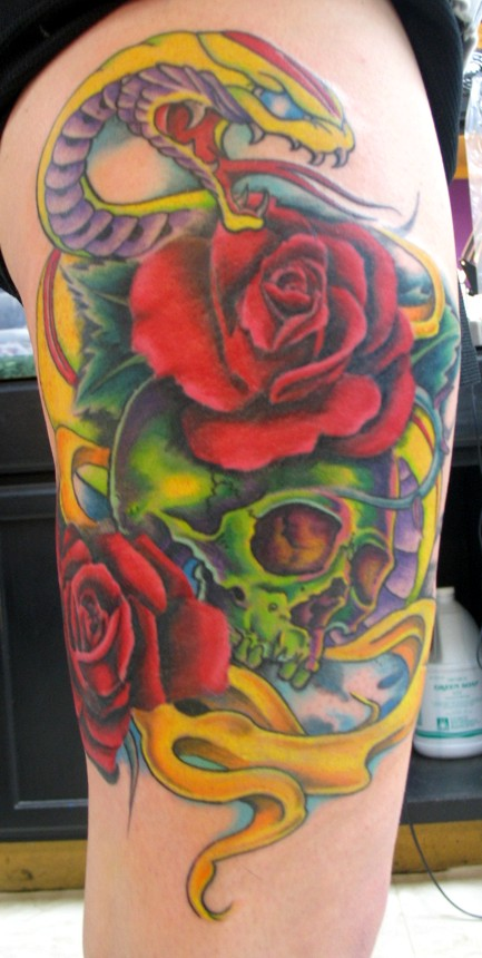 Skull and Snake tattoo by JasonRhodekill