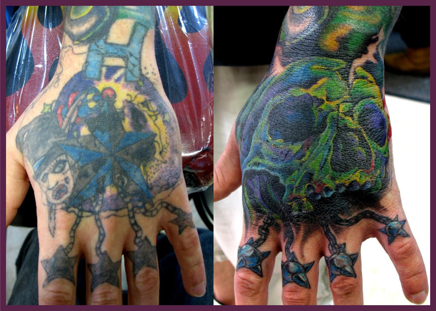 skull hand coverup tattoo by jasonrhodekill on deviantart