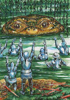 Knights and giant toad