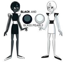 Black and White Glass Pearls by fluorescentnova