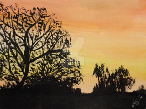 Candy Orange Sunset Silhouette