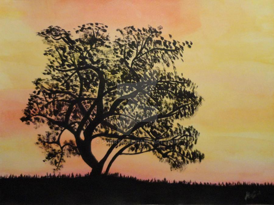 Fountain Tree Silhouette