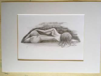 Lying Down - Pencil Drawing by BigAlien