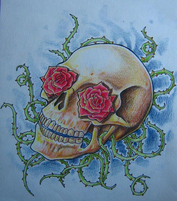 Skull and roses by LittleSpaz on deviantART