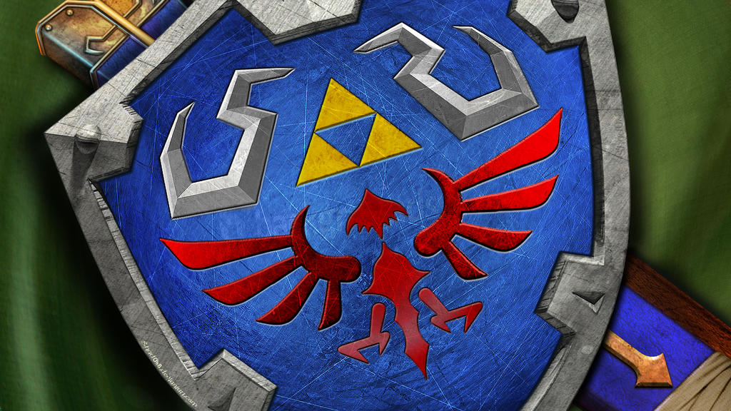 Hylian Shield Wallpaper v2 by shad0w8