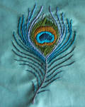 Embroidered Peacock Feather