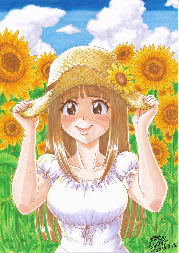 Original [A sunflower and girl] by Gengoro-Akemori