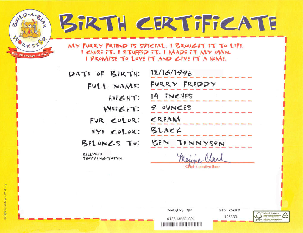 Freddy39s birth certificate by metalmindsam on deviantart for Build a bear birth certificates